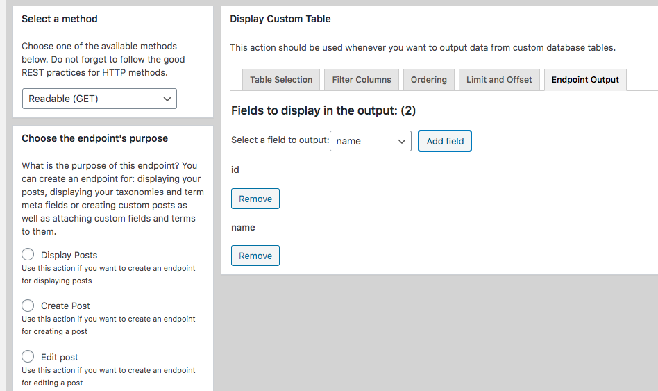 Custom Endpoint for Displaying Entries from Custom Tables