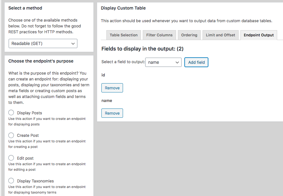 Defining the Output of the Custom Endpoint for Custom Tables
